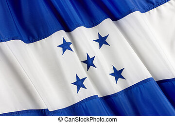 Flag of Honduras - Close up shot of wavy flag of Honduras
