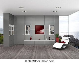 contemporary living room with glossy gray wall boarding -...