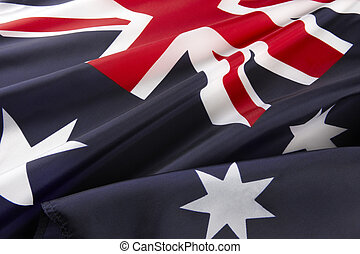 Macro shot of Australian flag - Extreme close up of wavy...