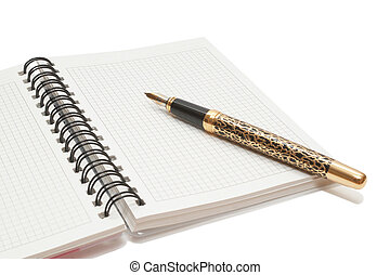 Golden Pen and notebook isolated on white