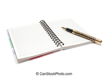 Pen and notebook - Golden Pen and notebook isolated on white