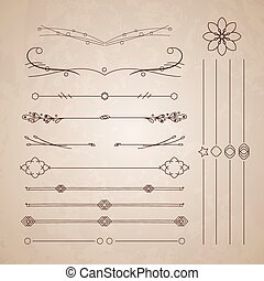 A diverse collection of vector dividers, bumpers, frames, ornaments, podecherkivany. Floral elements