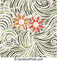 Vector seamless pattern of flowers in the grass