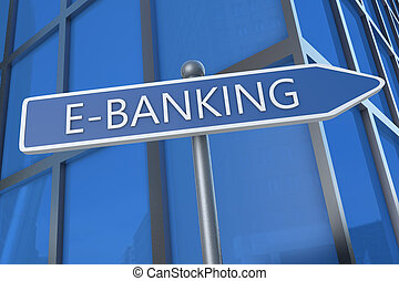 E-Banking - illustration with street sign in front of office...