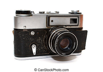 Old camera, isolated on white