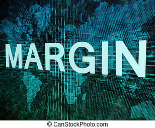 Margin text concept on green digital world map background
