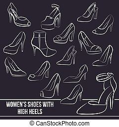 Set of women's shoes with high heels, painted lines