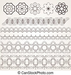 Set of vector filigree star, flowers, borders, frames and brushes of various women's shoes.
