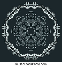 Set of two vector elegant, filigree round patterns: decorative and of women's shoes with high heels