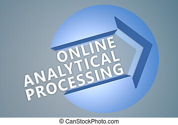 Online Analytical Processing - text 3d render illustration...