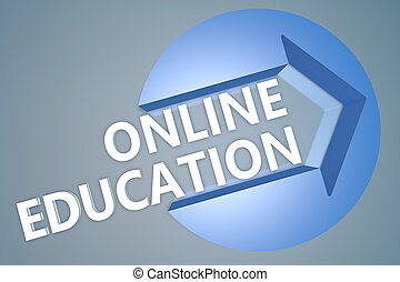 Online Education - text 3d render illustration concept with...