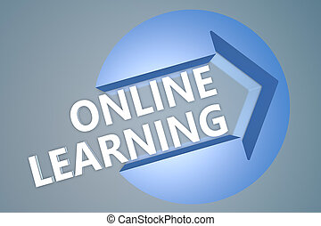 Online Learning - text 3d render illustration concept with a...