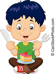 Cartoon boy eating cake isolated on