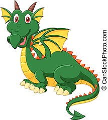 Cartoon happy green dragon - Vector illustration of Cartoon...