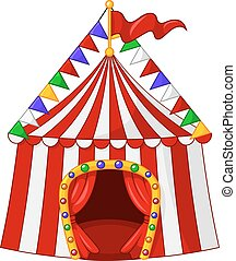 Cartoon circus tent isolated - Vector illustration of...