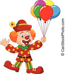 Adorable clown holding colorful - Vector illustration of...