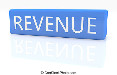 Revenue - 3d render blue box with text on it on white...
