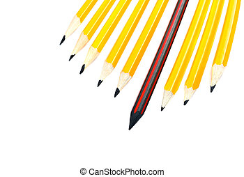 leadership concept - pencil standing out from a bunch of...