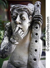 The Indonesian sculpture - Old Stone Statue, Bali Sculpture,...
