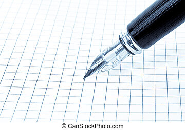 pen - Blank grid paper with pen on blue style