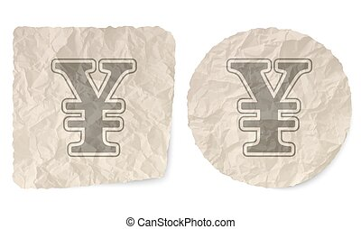 Crumpled slip of paper and a yen symbol