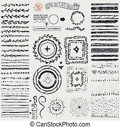 Doodle pattern brushes,wreath,frame,burst.Black - Hand drawn...