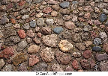 Cobble-stones roadway.