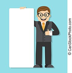 businessman with a big blank paper - businessman holding...