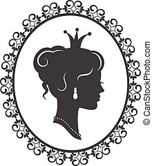 elegant princess in the frame - Silhouette of a beautiful...
