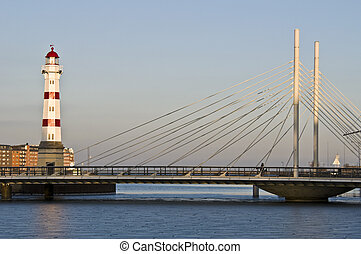 Red lighthouse - beautiful red striped lighthouse in Malmoe,...