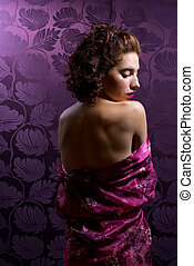 Intimate Young Woman In Silk Robe - Intimate young woman...