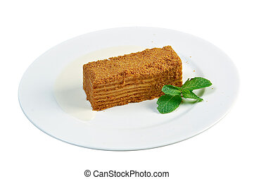 cake Napoleon on a white plateclose up