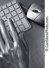 computer keyboard mouse silver hand futuristic - computer...