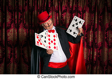 Magician with big cards