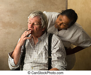 Angry nurse and old man