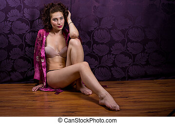 Stunning Female Wearing Floral Silk Robe - Stunning brunette...
