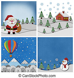 Collection of Christmas papercraft background. - Collection...