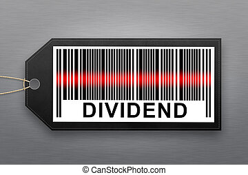 dividend barcode with stainless steel background