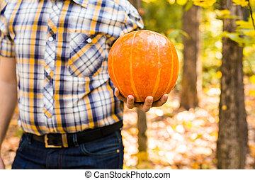 man carrying pumpkin outdoors - A man carrying pumpkin in a...