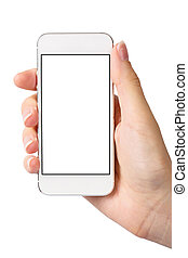 Hand and Smartphone on White Background