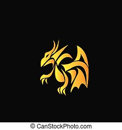 yellow dragon on a black background