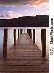 Derwent Jetty - Wooden landing stage at Derwent water on a...