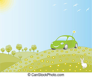 Eco-friendly car in a green field, in harmony with nature