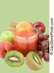 蔬菜, 汁, 水果, 或者, 紅色