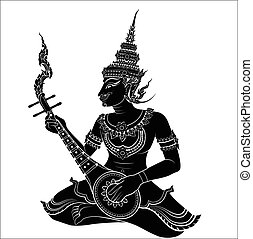 Thai art guitarist - Silhouett of Thai art guitarist