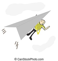 pilot flying a paper airplane illustration