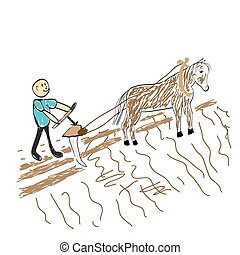 farmer sows the seed on the field illustration