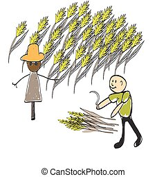 farmer with a pitchfork and a haystack, illustrator