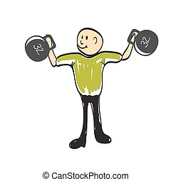 man lifts a weight illustration