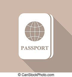 Passport icon a long shadow